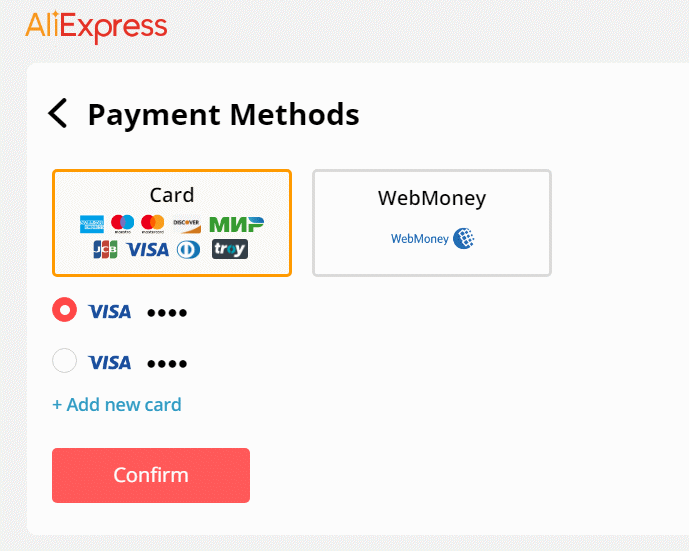 AliExpress checkout payment methods