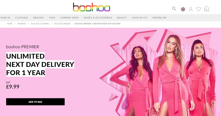 How to get free delivery at Boohoo